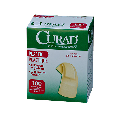 CURAD PLASTIC ADHESIVE BANDAGES 1IN X 3IN 100/BX